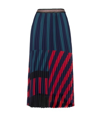 Anonyme Sofia Blue/Red Long Pleated Skirt - Ribbon Rouge Boutiques