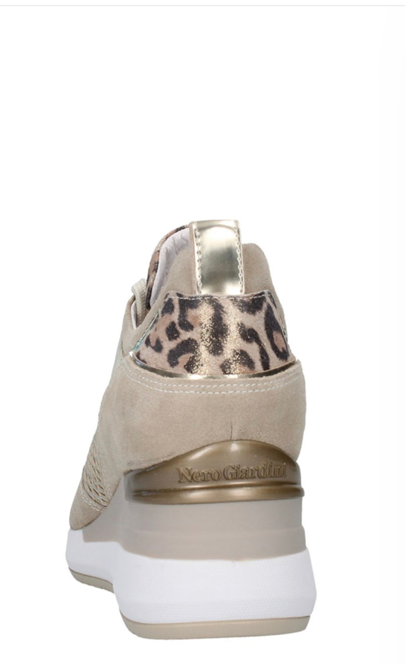 Nero Giardini Taupe Leather Wedge Leopard Detail Trainers