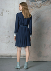 Birelin Pleated Shirt Collar Navy Dress - Ribbon Rouge Boutiques