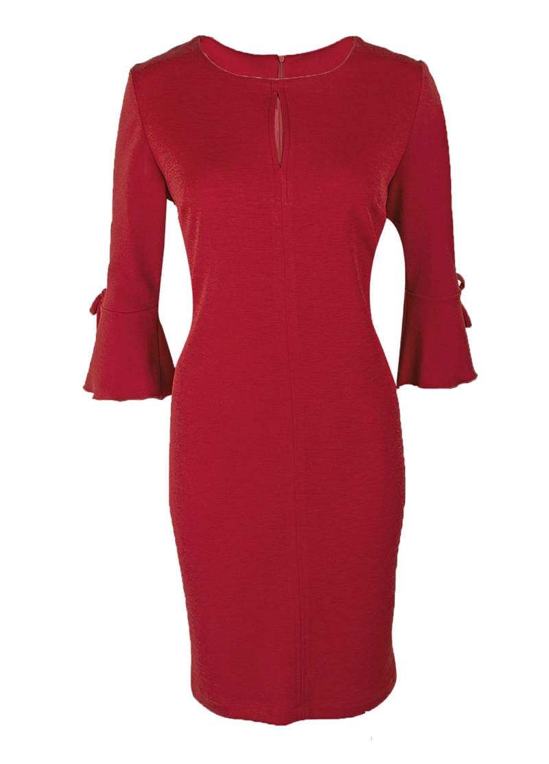 Estel Flute Sleeve Red Dress