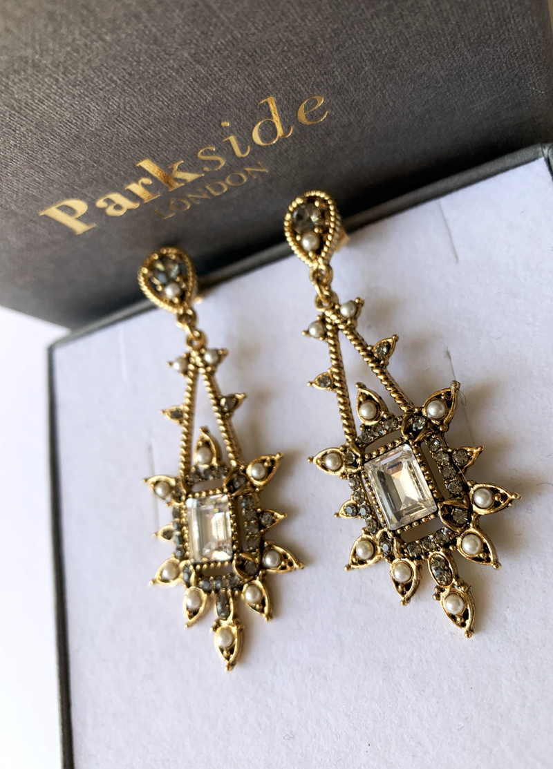 Parkside London Antique Gold Plated Crystal Drop Earrings