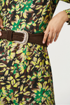 Exquise Autumn Floral Print Belted Dress