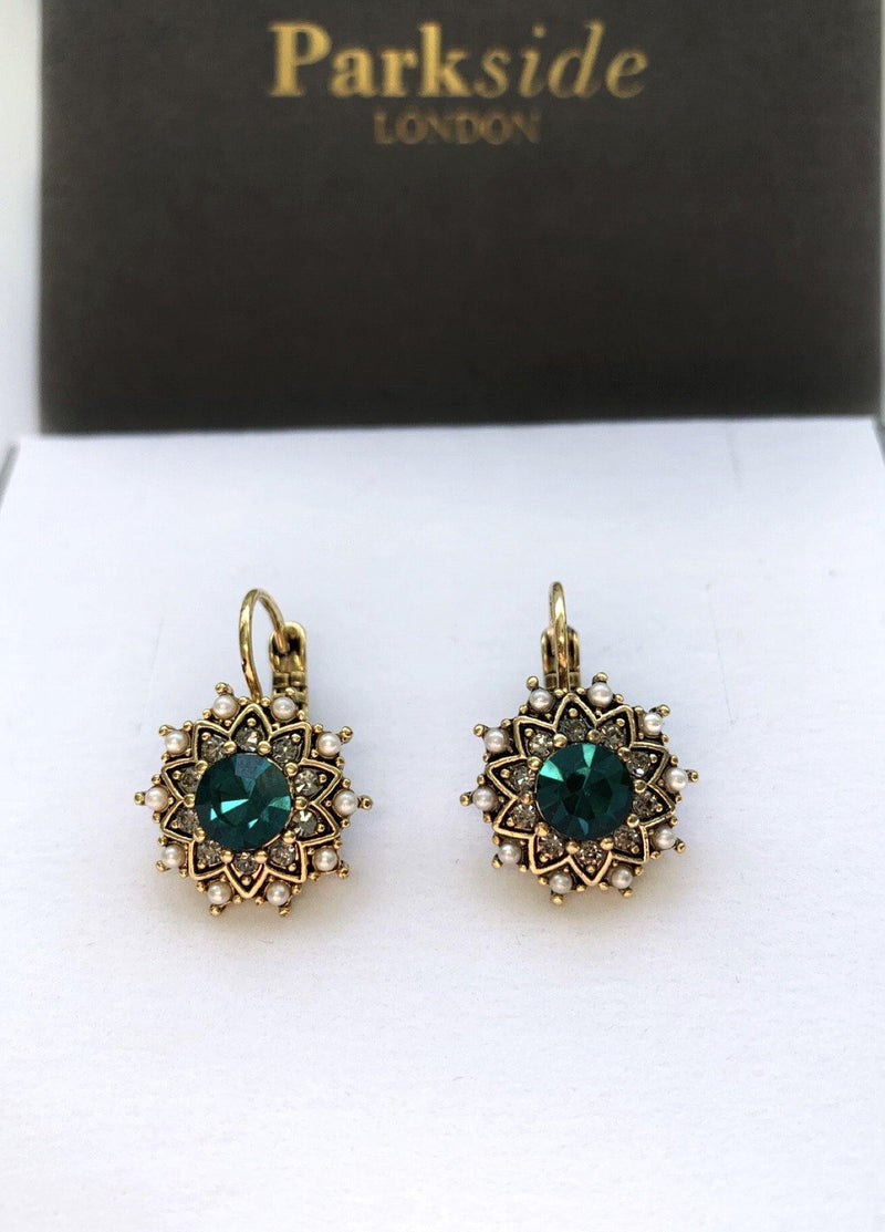 Parkside London Antique Hoop Earring Emerald Green