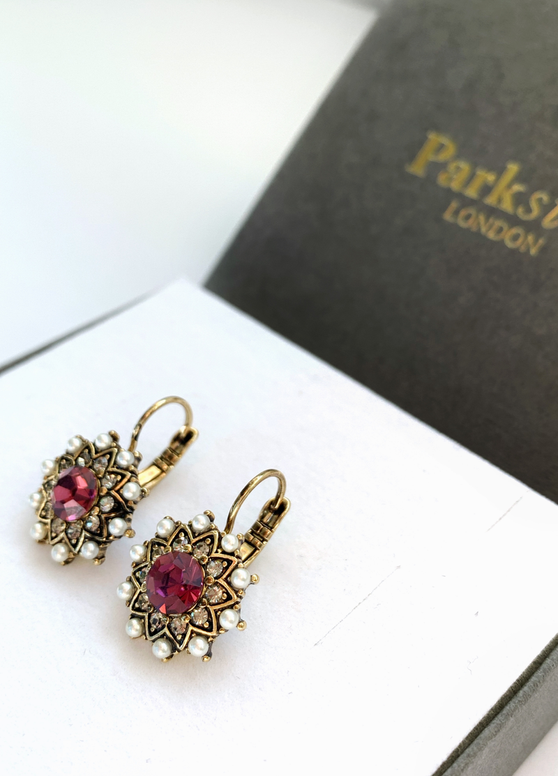 Parkside London Antique Hoop Earring Pink Amethyst - Ribbon Rouge Boutiques