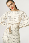 Exquise Cream Spotted Tie Belt Midi Dress - Ribbon Rouge Boutiques