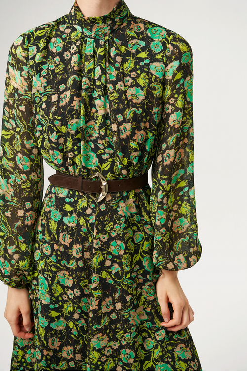 Exquise Green Floral Print Sheer Sleeve Belted Dress