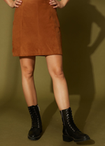 Sud Express Suede Tan Leather Skirt - Ribbon Rouge Boutiques