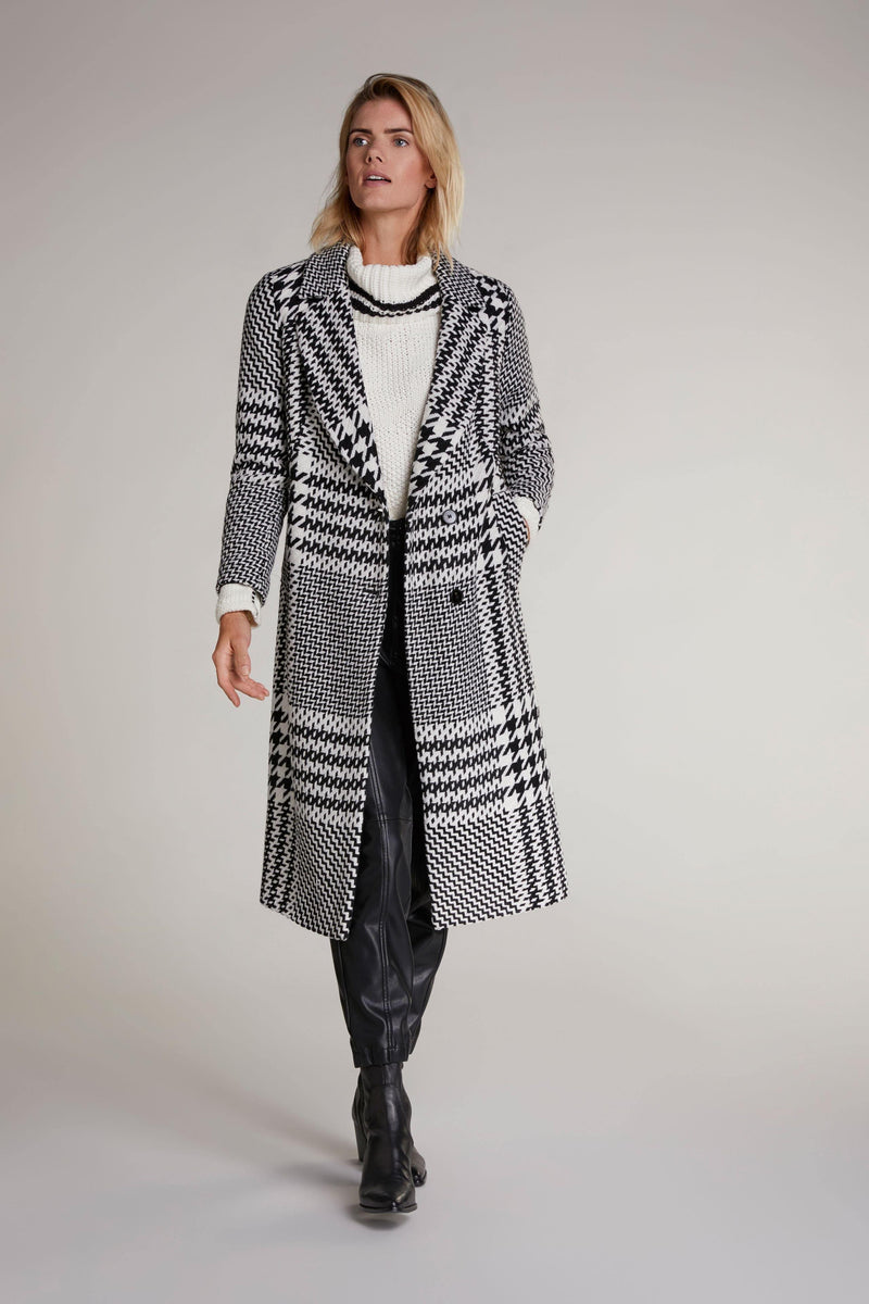 Oui Long Houndstooth Check Print Coat - Ribbon Rouge Boutiques