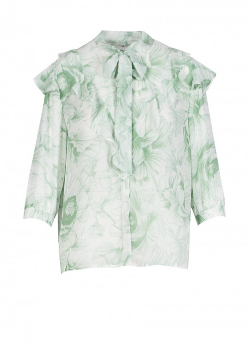 Anonyme Green Floral Frill Blouse