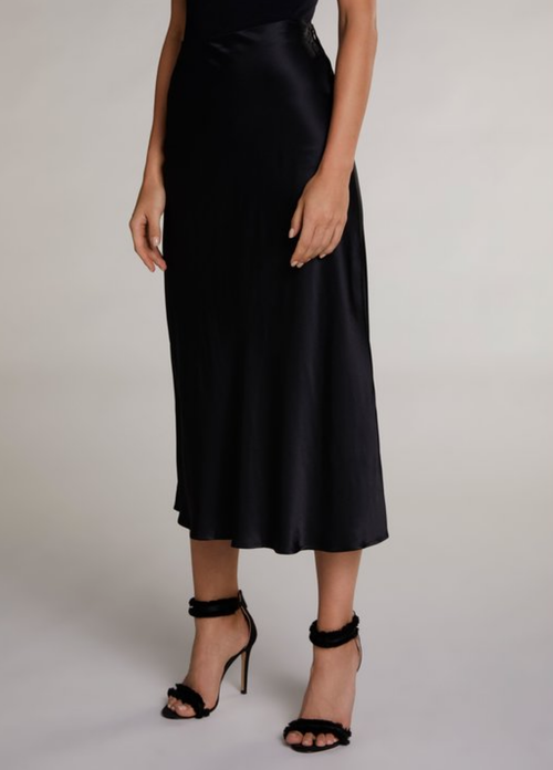 Oui Black Satin Style Long Skirt - Ribbon Rouge Boutiques