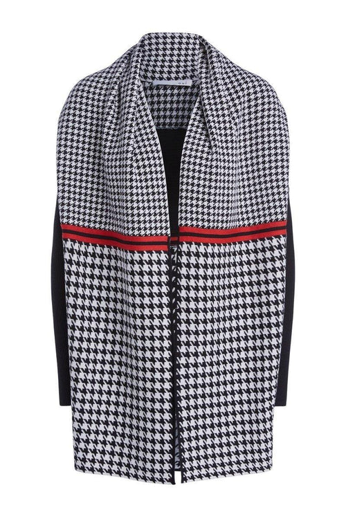 Oui Draped Style Houndstooth Cardigan Jacket - Ribbon Rouge Boutiques