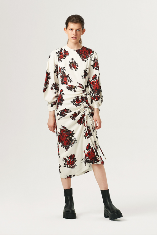 Exquise Cream/Red Floral Print Long Sleeve Dress - Ribbon Rouge Boutiques