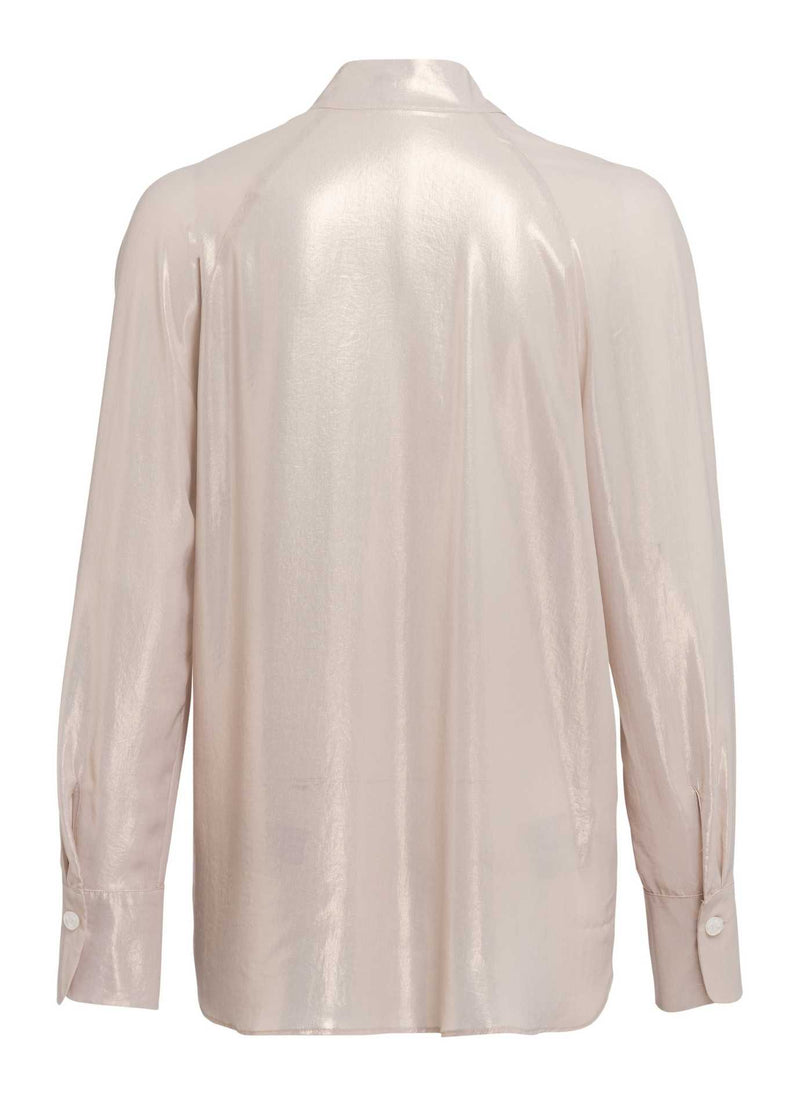 marc aurel 63771000 beige shimmery long sleeve v neck dressy top for women from back