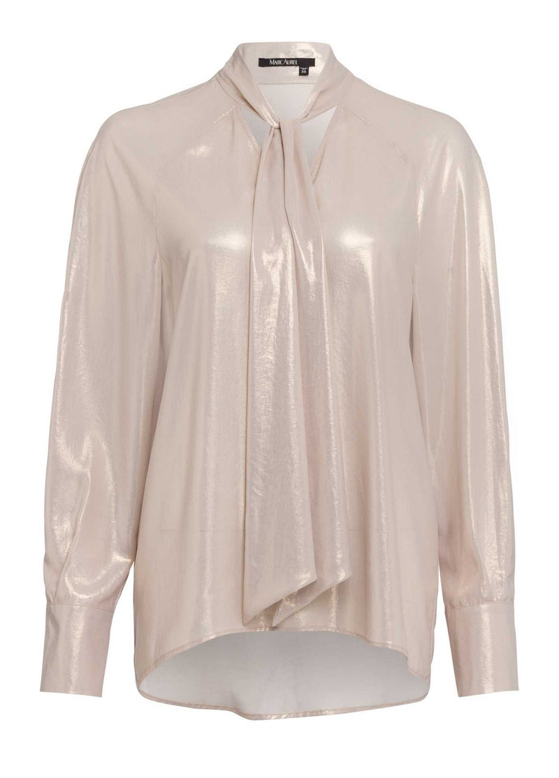 marc aurel beige shimmery long sleeve v neck dressy top for women