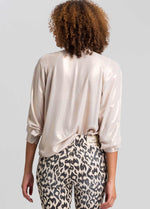 marc aurel beige wet look dressy shimmer womens blouse from the back