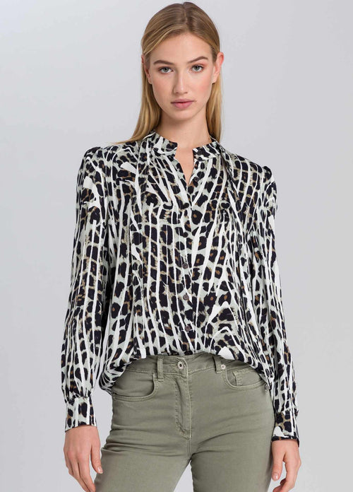 marc aurel 63921000 womens animal print long sleeve top with a bow tie
