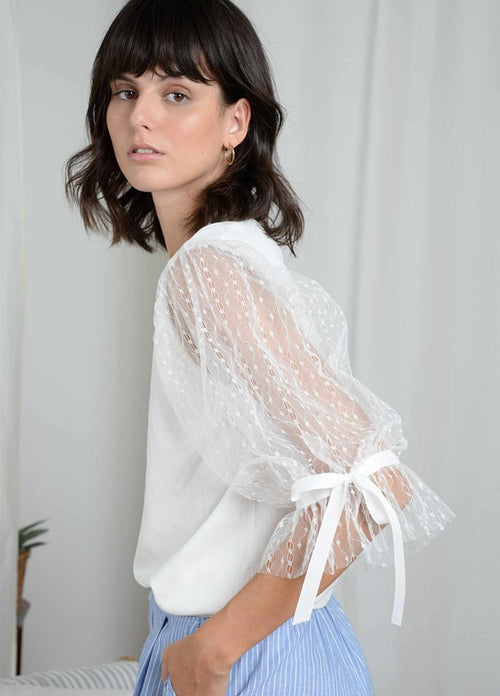 Molly Bracken White Tulle Lace Short Sleeve Top