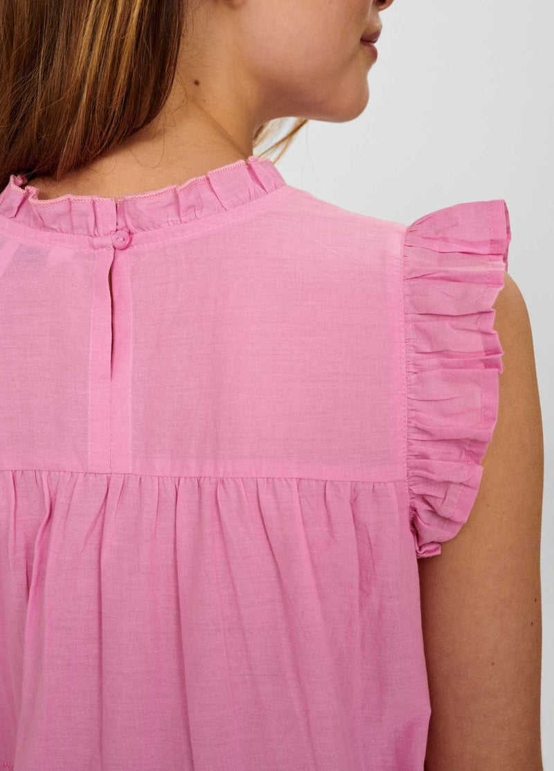 numph nualgra womens sleeveless pink lace high neck top from the back close up