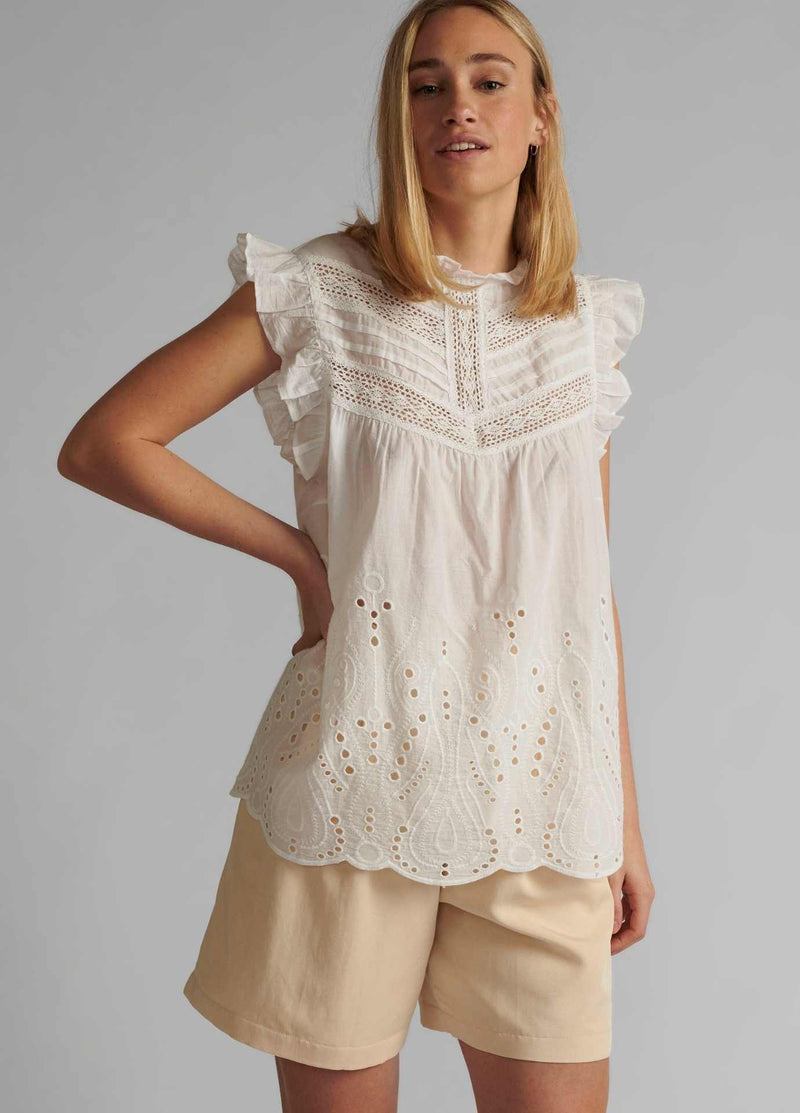 numph nualgra womens sleeveless white lace top with high neck