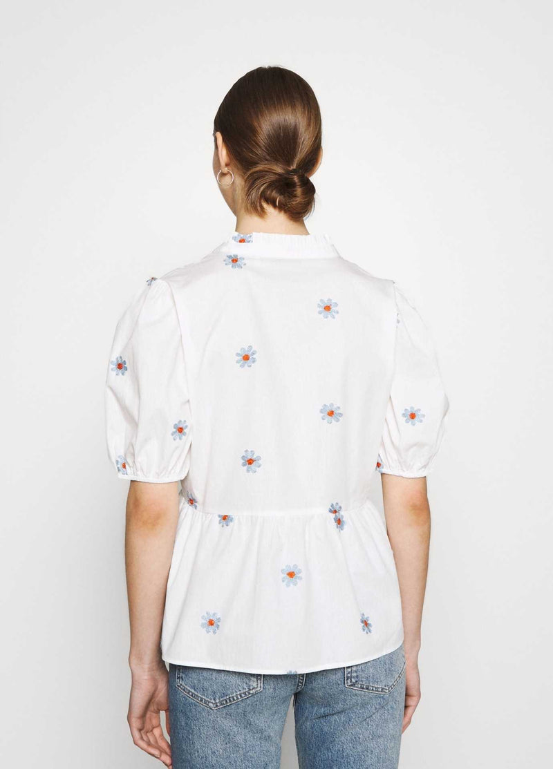 numph nubloomy white embroidered floral print womens v neck top from the back