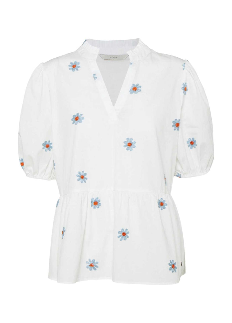 numph nubloomy white embroidered flower print womens short sleeve top