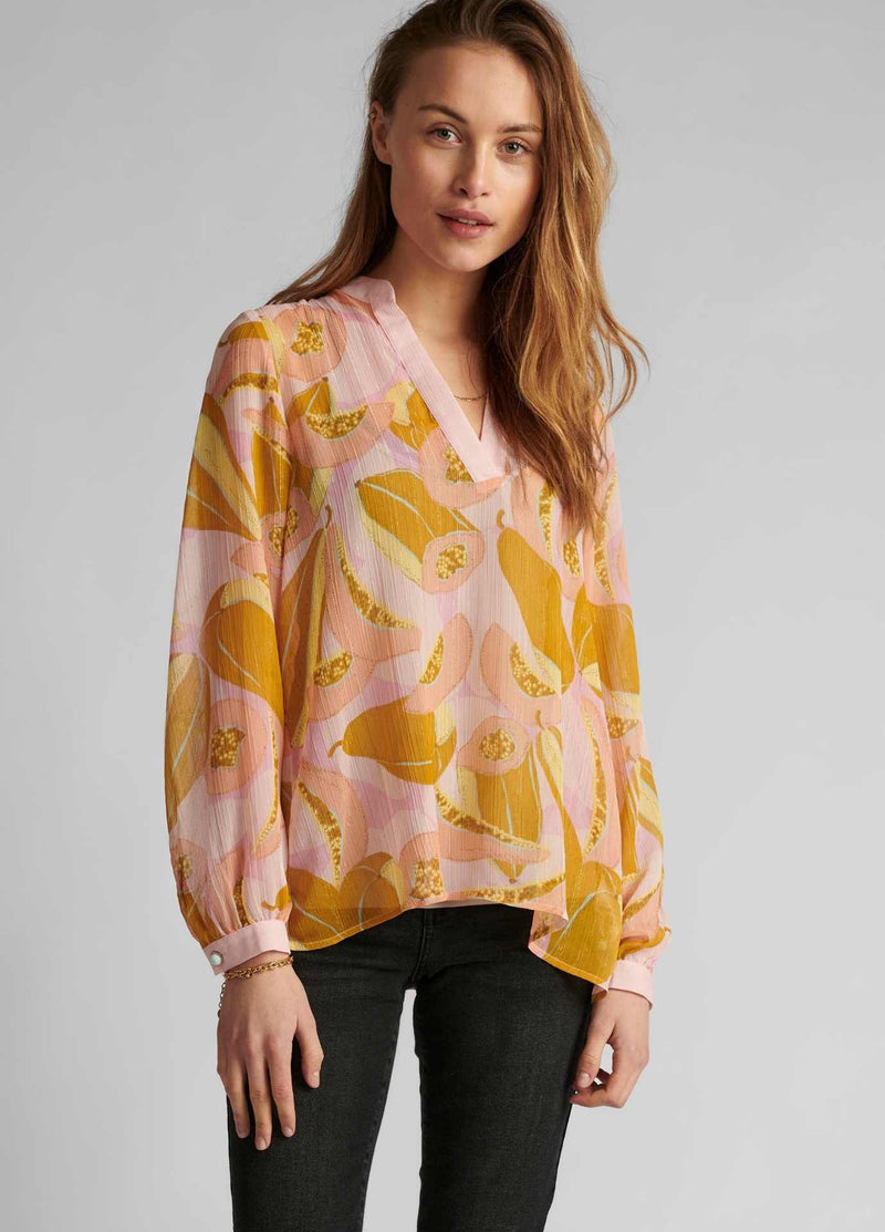 numph nucamden long sleeve peach floral print womens summer blouse
