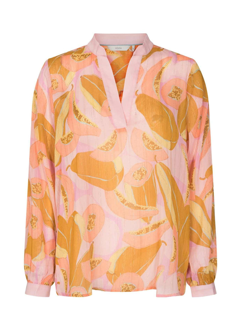 numph nucamden women peach floral print blouse with  long sleeves