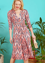 Onjenu Amy Coral Print V-Neck Zig Zag Print 3/4 Sleeve Dress Ribbon Rouge Front