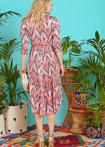 Onjenu Amy Coral Print V-Neck Zig Zag Print 3/4 Sleeve Dress Ribbon Rouge Back