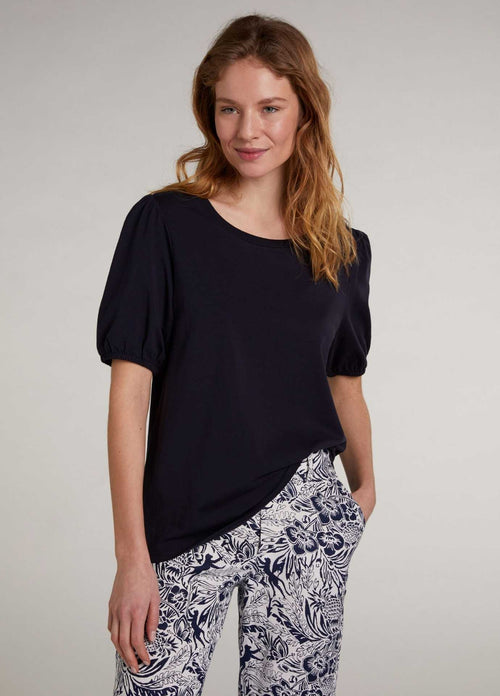 oui 0071939 navy womens short puff sleeve basic top