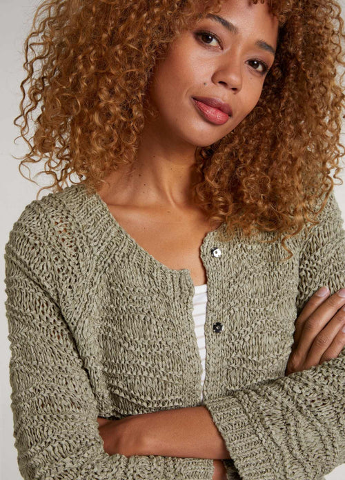 oui 72511 womens SS21 khaki green knitted button down cardigan