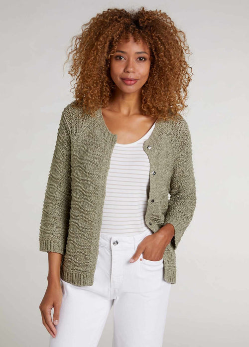 oui 72511 womens 3\4 sleeve khaki green knitted summer cardigan