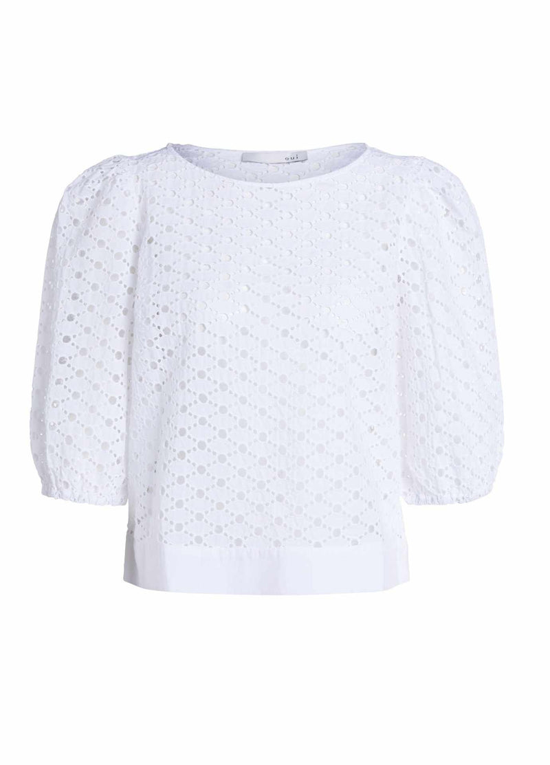 Oui ladies broderie anglaise style white lace top with short sleeves