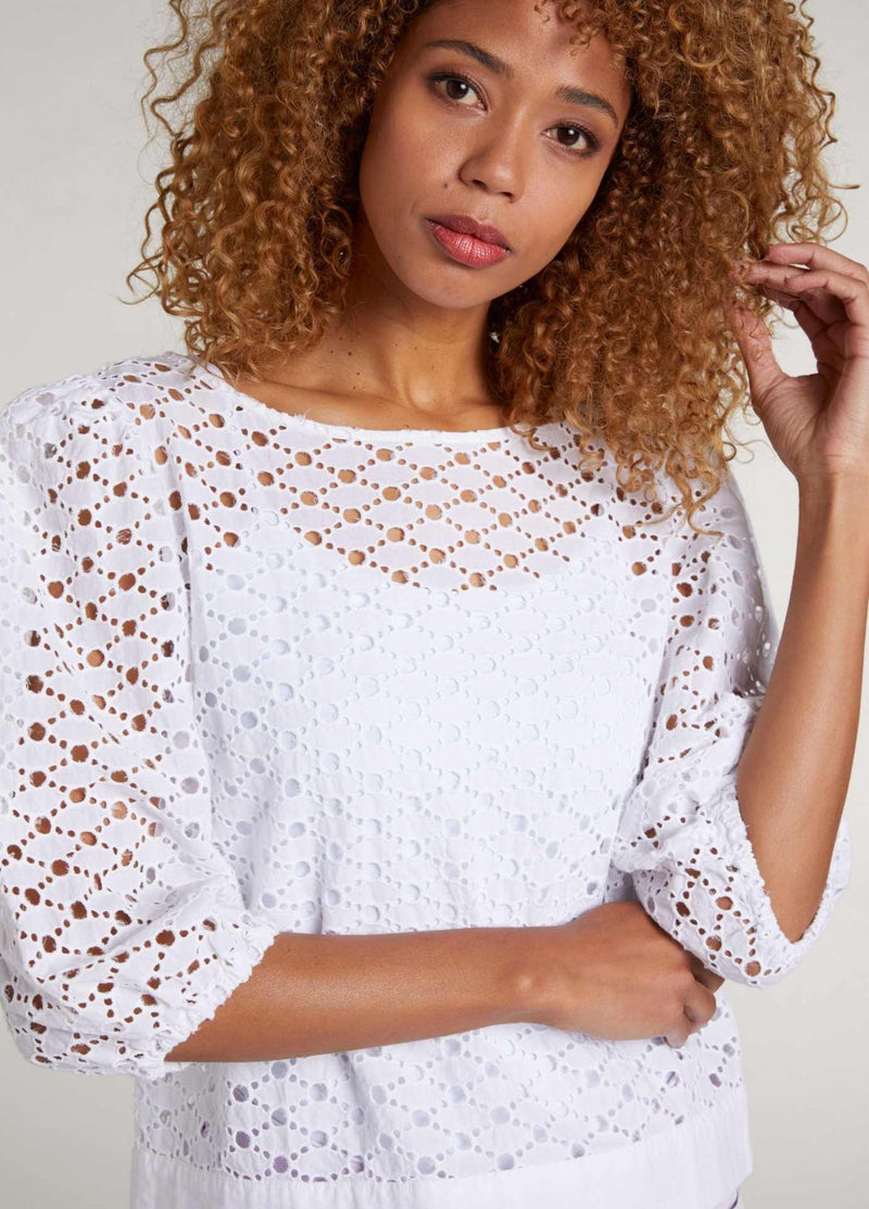 Broderie anglais pattern white top for women with elbow length sleeves