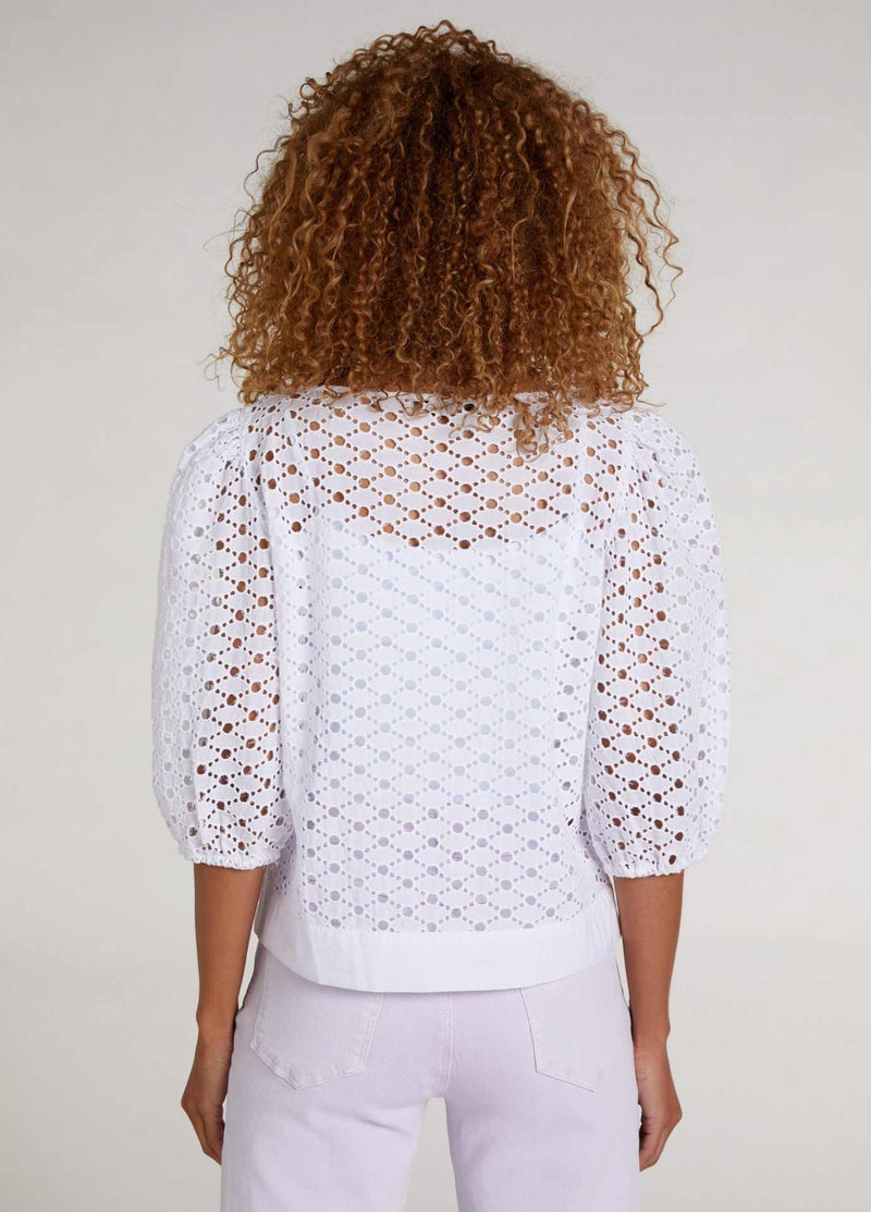 Oui white openwork lace top with short puff sleeve from the back