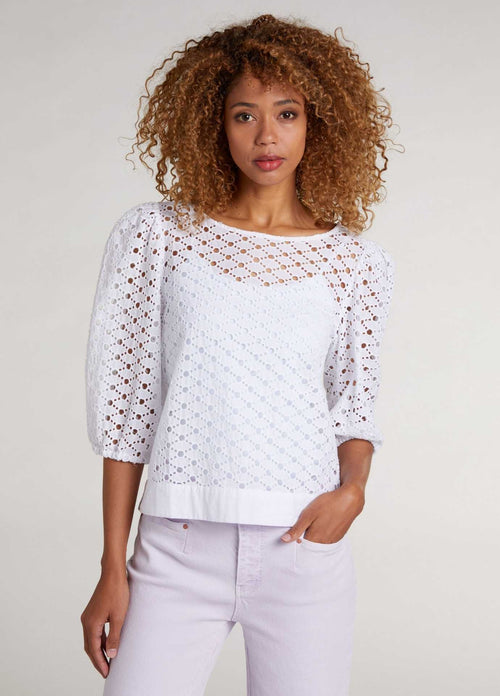 oui 72608 white broderie lace womens puffed sleeve summer top