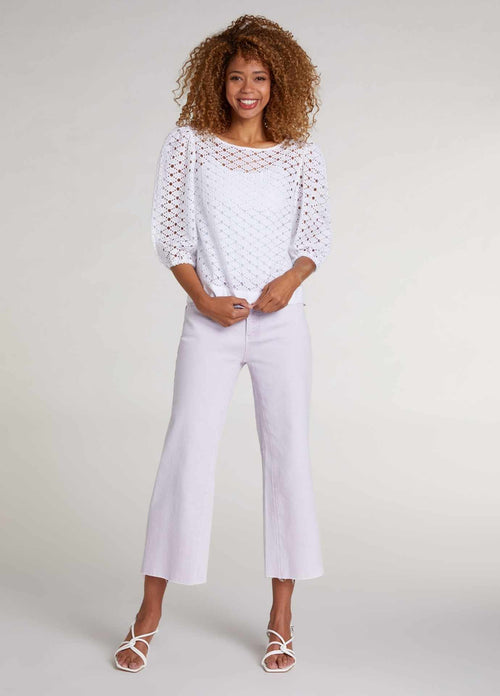 oui 72608 white open work lace womens puffed style top with short elbow length sleeve