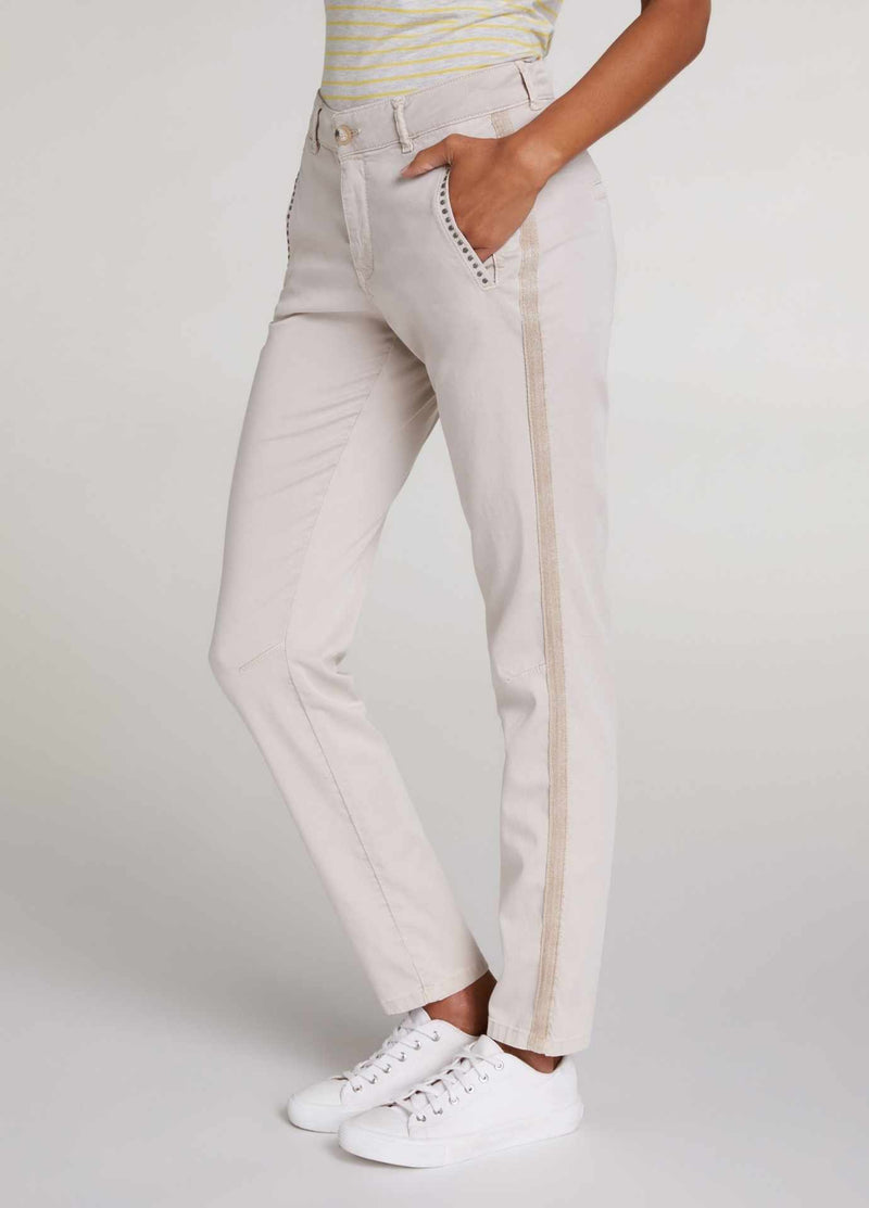oui beige womens trousers with pockets and side stripe