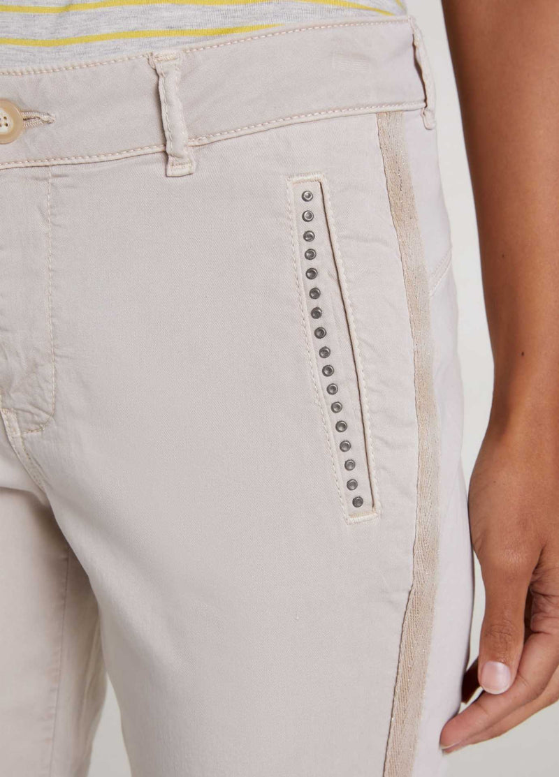 oui womens trousers with stud pockets and side stripe