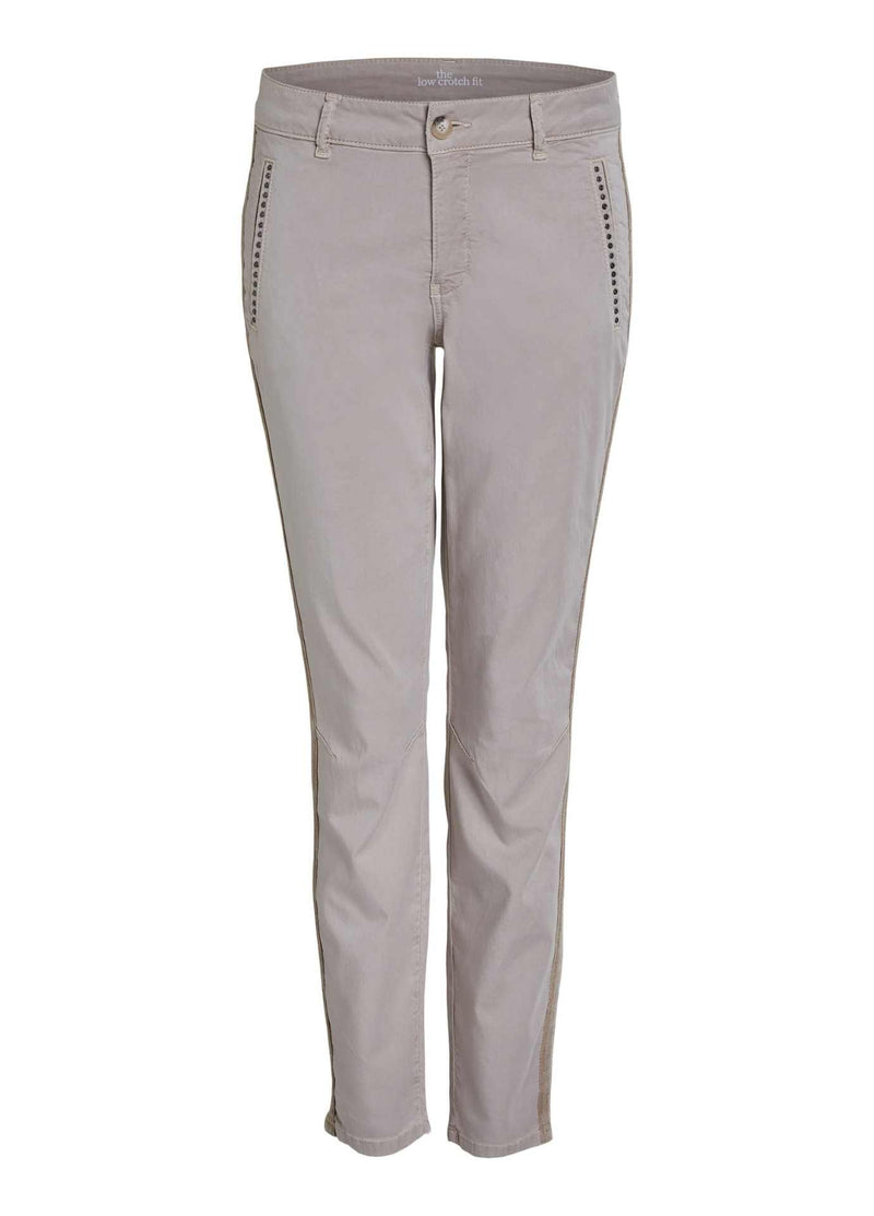 oui beige womens trousers with stud pockets and sport stripe