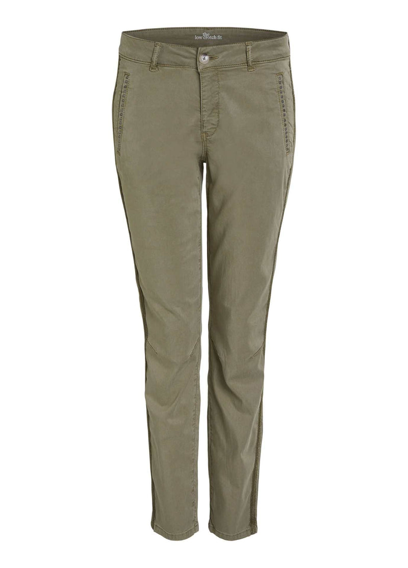 oui khaki green womens slim leg trousers with stud pockets and sport stripe on the side
