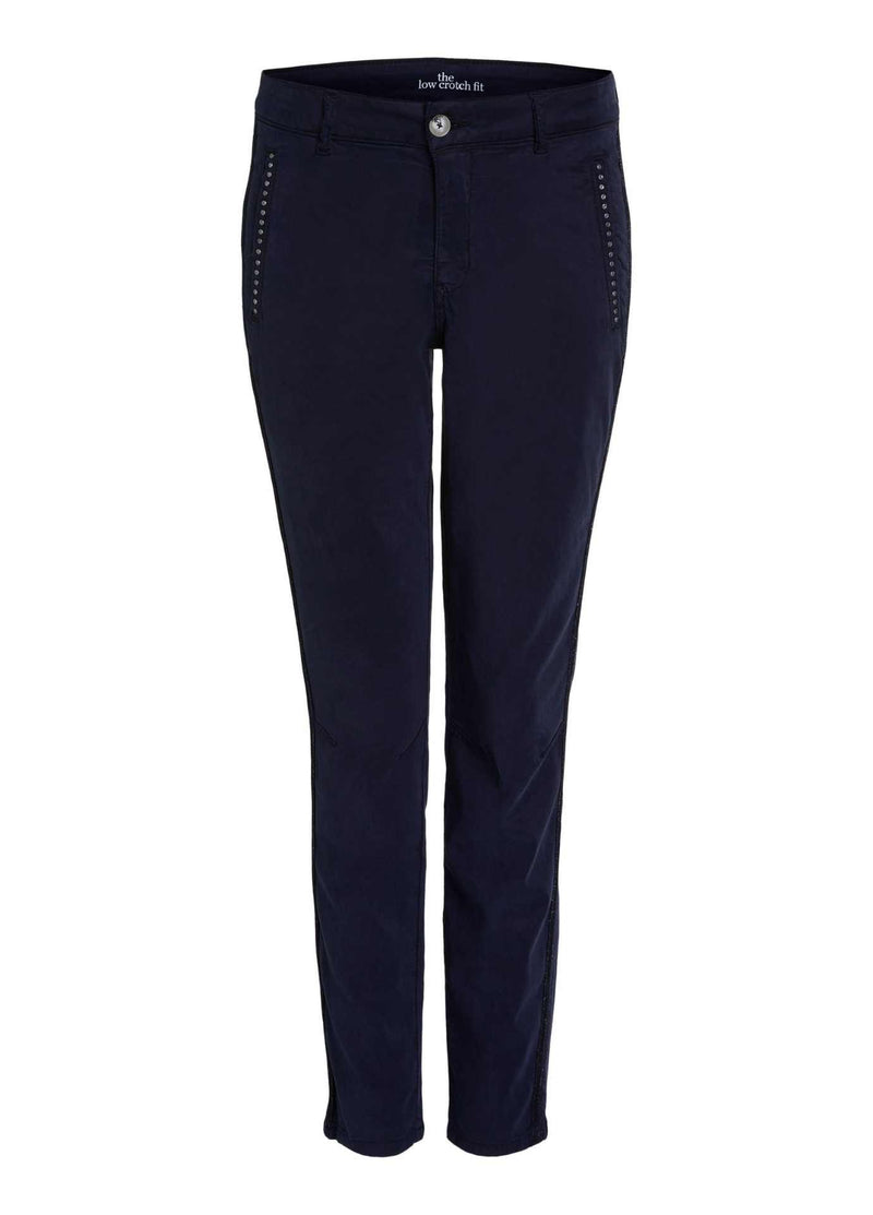 oui navy womens slim leg trousers with stud pockets and sport stripe on the side
