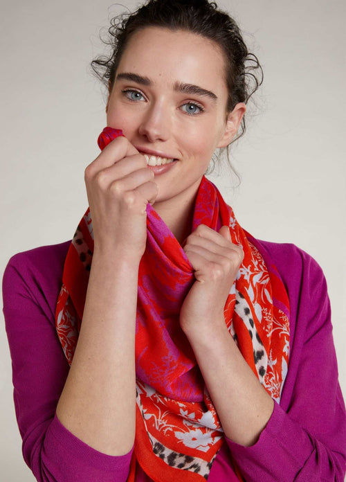 Oui Pink & Red Floral Print Scarf With Tassels