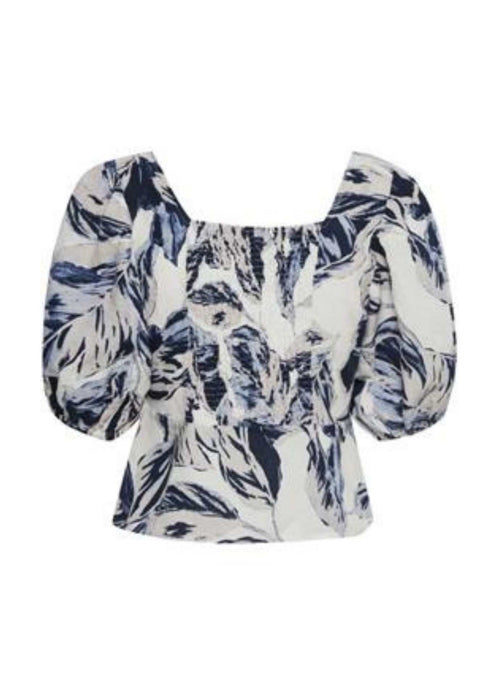 Part Two Inere Blue & White Floral Print Puff Sleeve Top