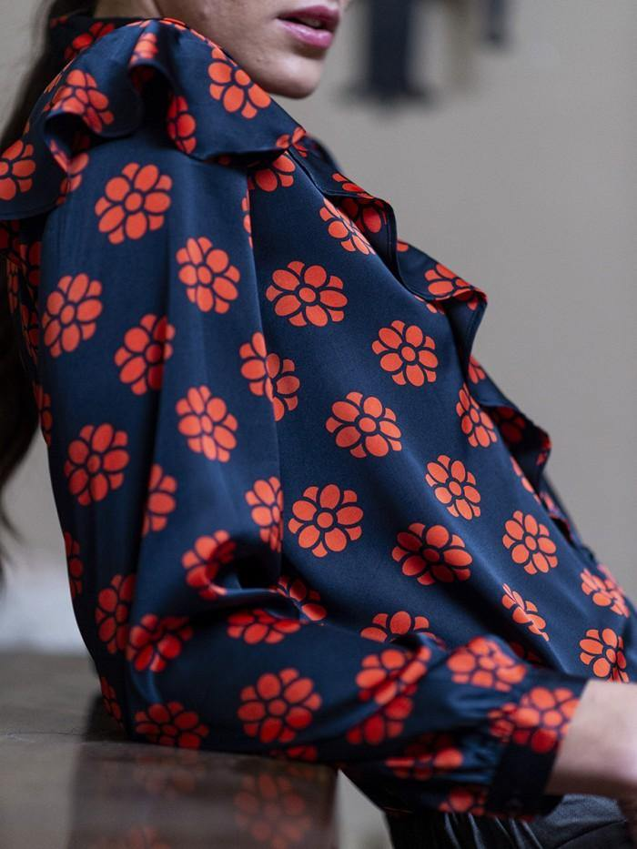 Anonyme Teresa Blue & Red Daisy Print Ruffle Blouse - Ribbon Rouge Boutiques
