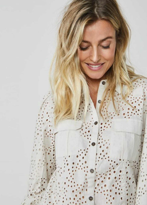summum woman white broderie anglaise lace shirt for women with pockets