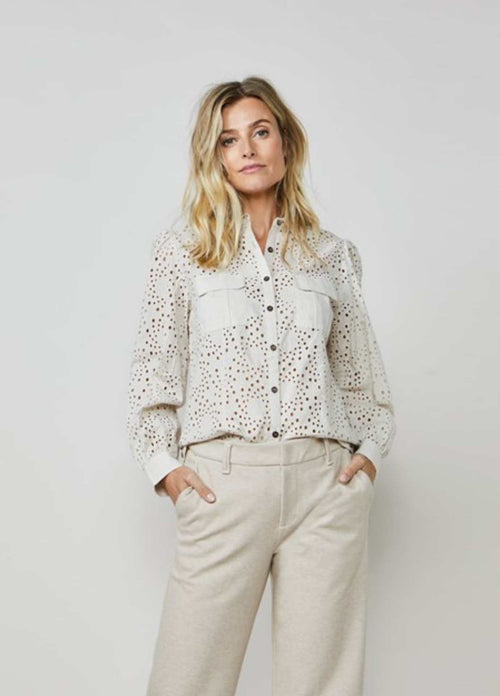 summum woman white broderie anglaise lace utility shirt