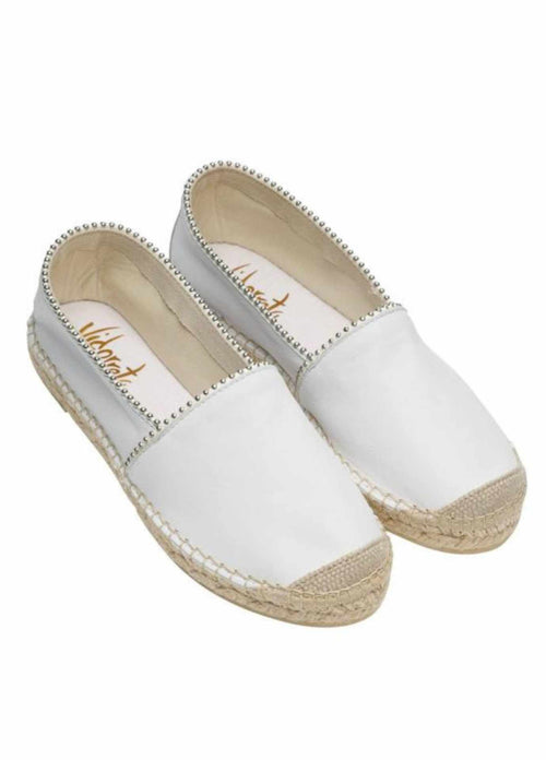 vidorreta nappt white leather flat espadrille stud camping shoes