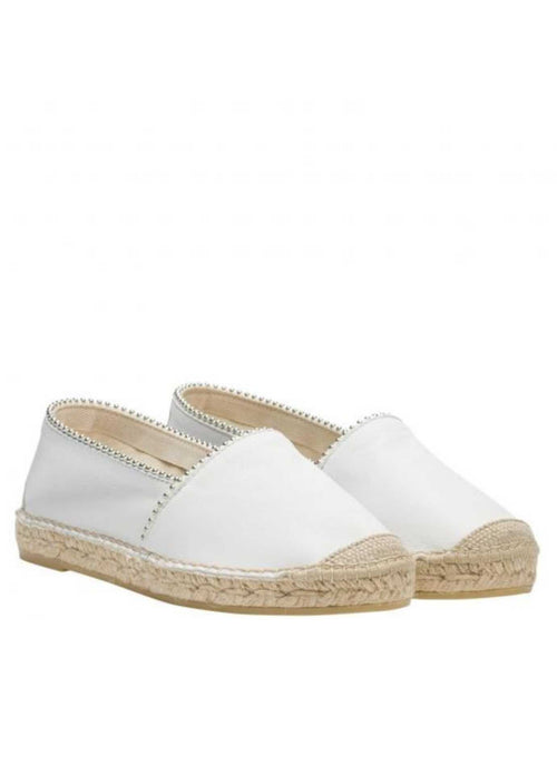 vidorreta nappt white leather flat jute sole espadrille camping shoes with studs