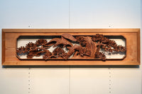 Dynamism and powerful 深彫 り sculpture carved wooden panel above paper sliding door E8217ab stock (a: 1 b: 1)枚